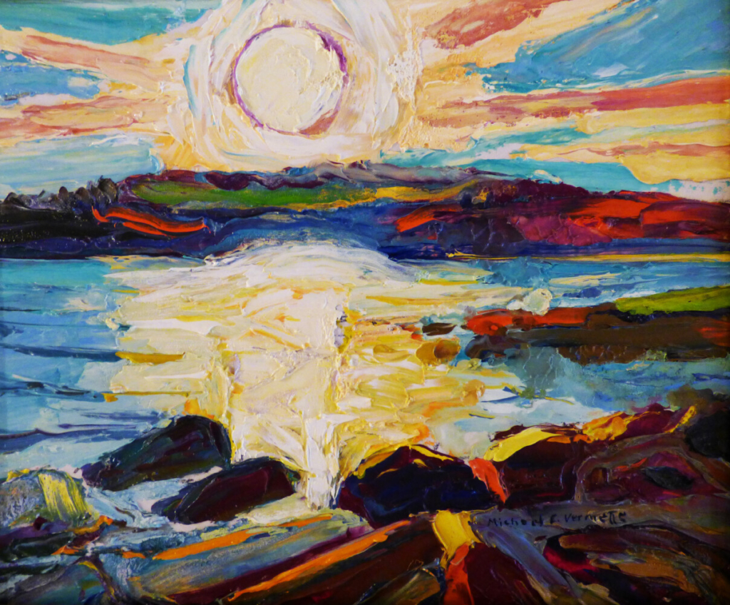 """Michael Vermette's """"Bright Sunset in August, Chamberlain Lake, Allagash Wilderness Waterway,"""" oil on board, 8 by 10 inches."""