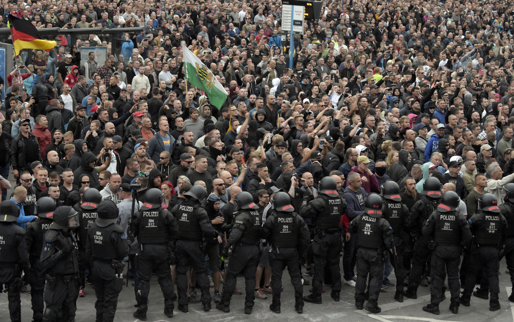 Demonstrators shout during a far-right protest in Chemnitz, Germany, on Aug. 27. In September 2021, there were at least 54 Facebook profiles belonging to 39 entities that the German government and civil society groups have flagged as extremist.