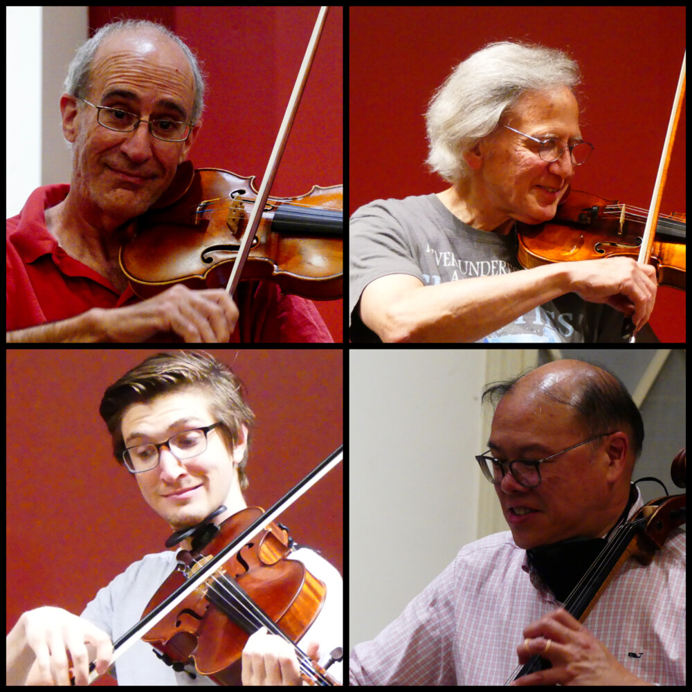 A composite photo of the Portland String Quartet, assembled from images taken during a recent rehearsal. Members include, clockwide from top left, Dean Stein, Ronald Lantz, Andrew Mark and guest Matthew Consul.