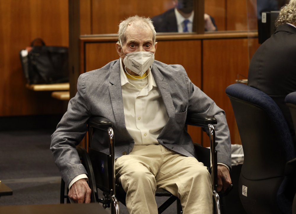 Robert Durst spins in his wheelchair to look at people in the courtroom in  Inglewood, Calif., during his murder trial  this month. He was found guilty Friday of murdering his longtime friend Susan Berman in December 2000.