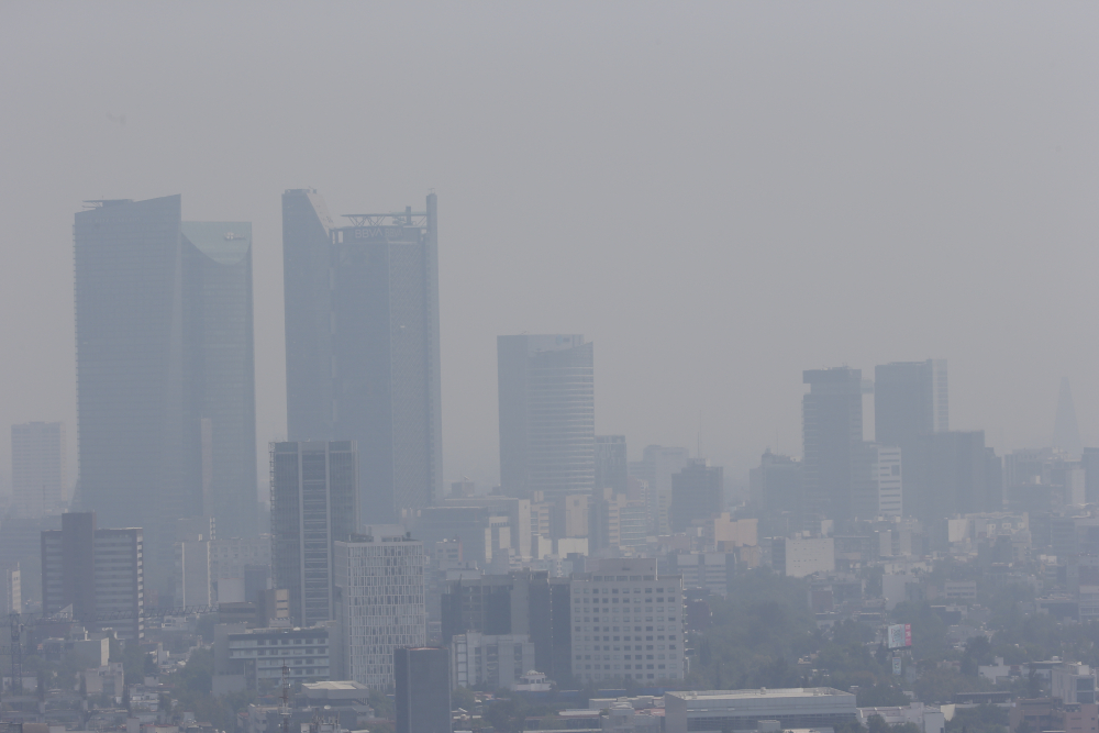 Smog hangs over Mexico City in April 2021.