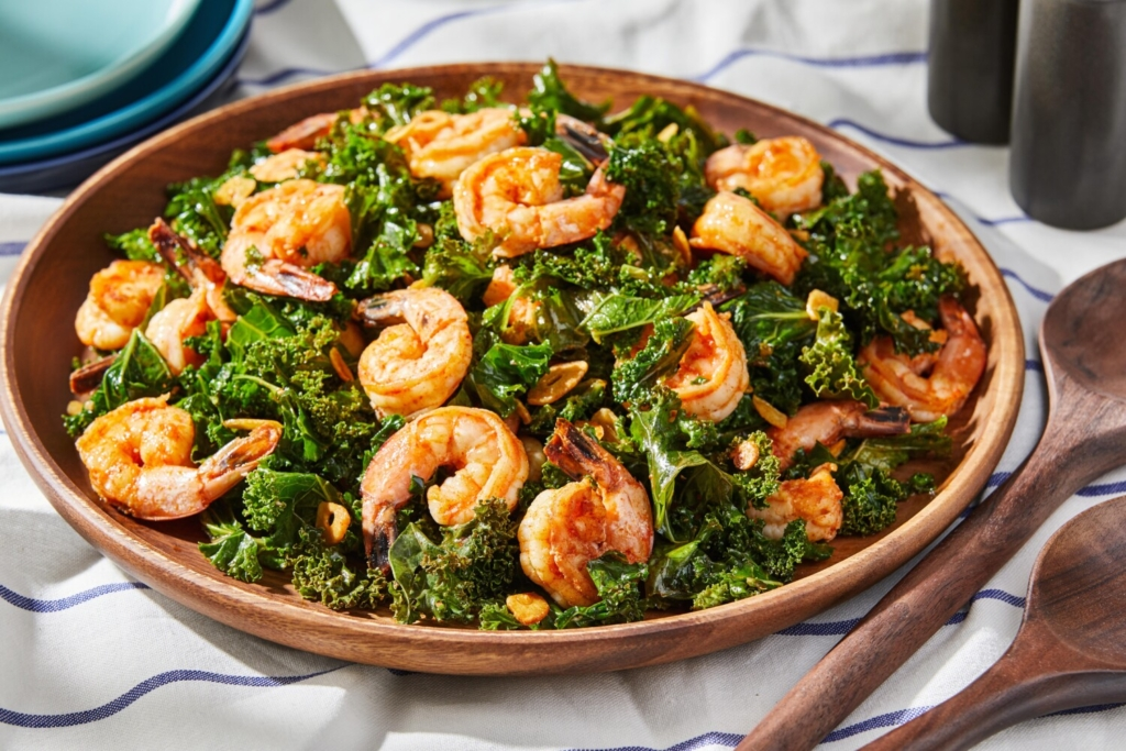 Shrimp With Kale, Garlic and Smoked Paprika. MUST CREDIT: Photo by Tom McCorkle for The Washington Post.