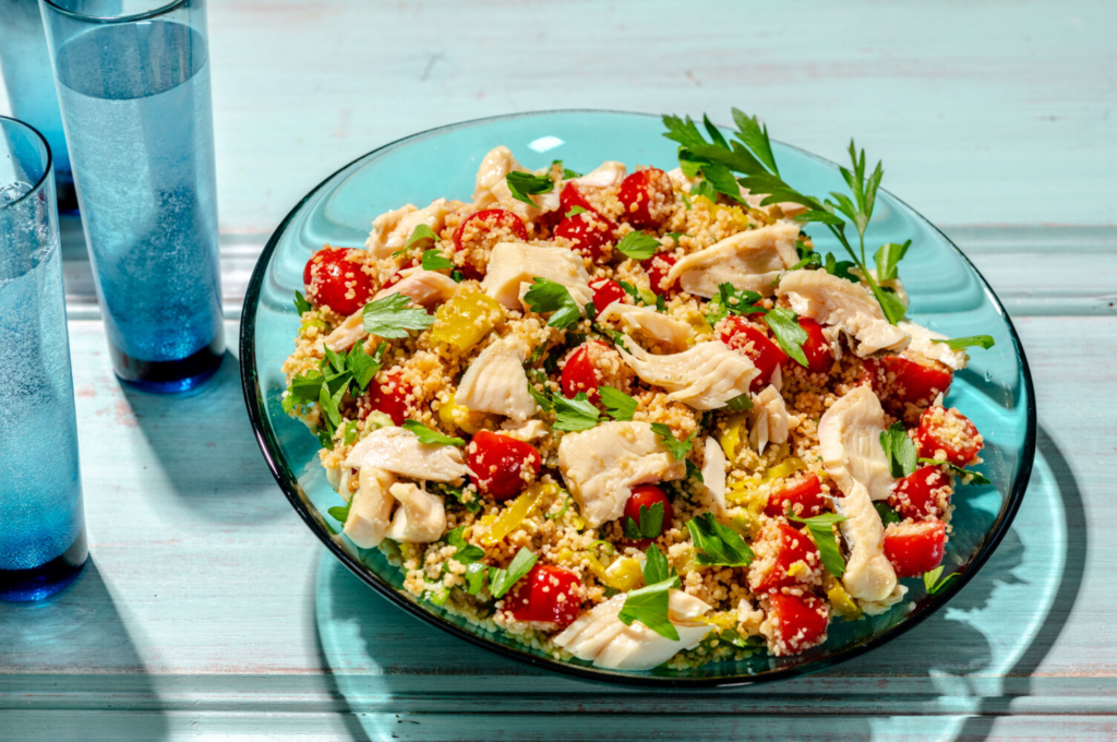 Couscous Salad with Smoked Trout and Pepperoncini