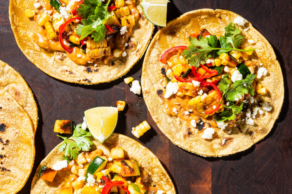 Grilled Zucchini and Corn Tacos with Quick-Pickled Chiles