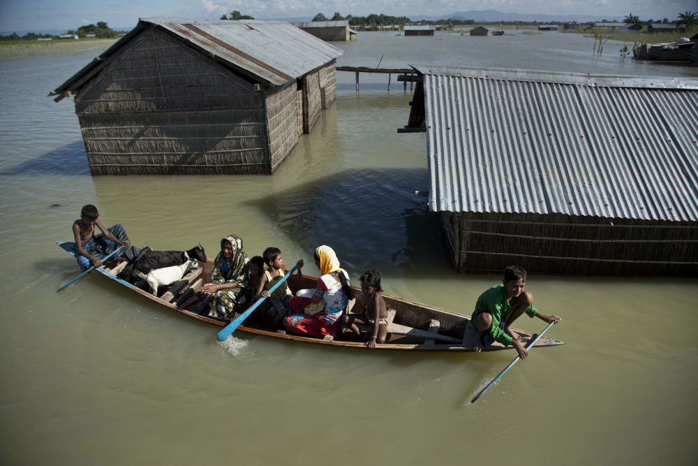 A flood-affected family with their goats travel on a boat in the Morigaon district, east of Gauhati, northeastern Assam state, India, in July 2016.