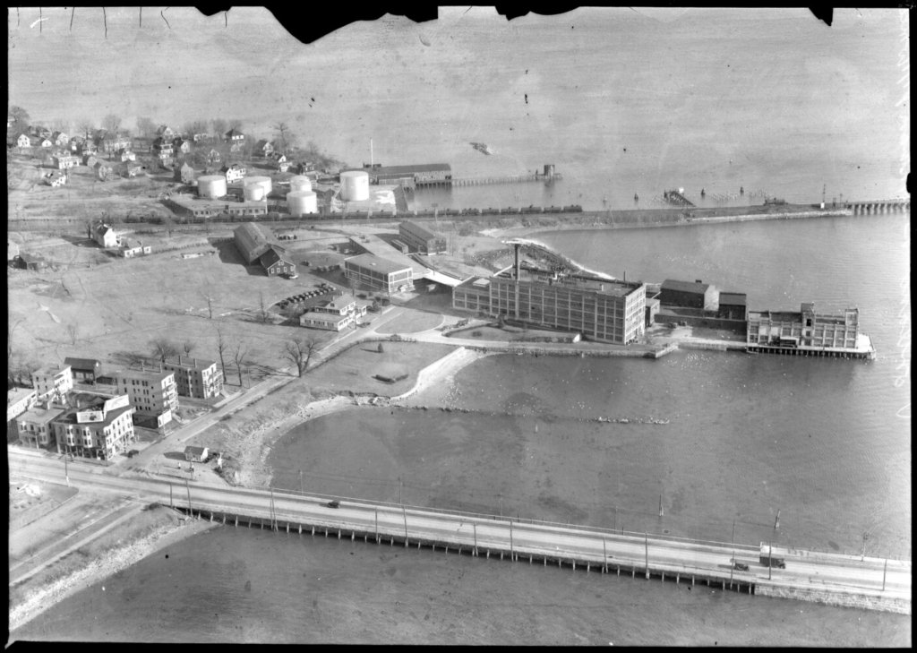 An aerial view of the B&M Baked Bean factory in Portland, circa 1930.