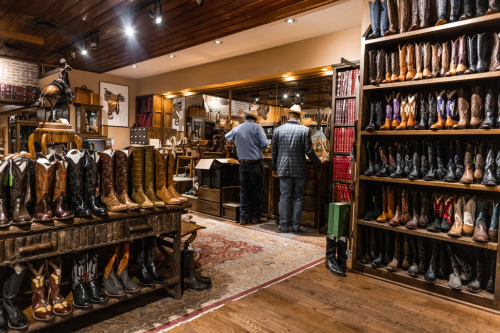 Customers shop for boots in Fort Worth, Texas, on April 12, 2021.