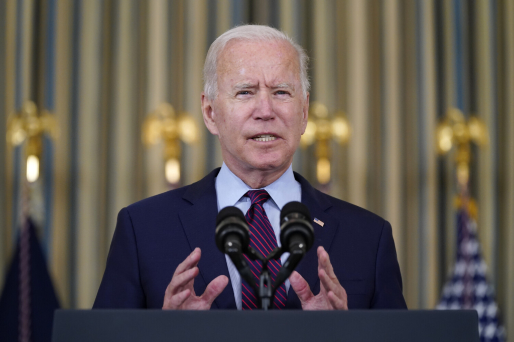 President Biden delivers remarks on the debt ceiling during an event in the State Dining Room of the White House on Monday in Washington.