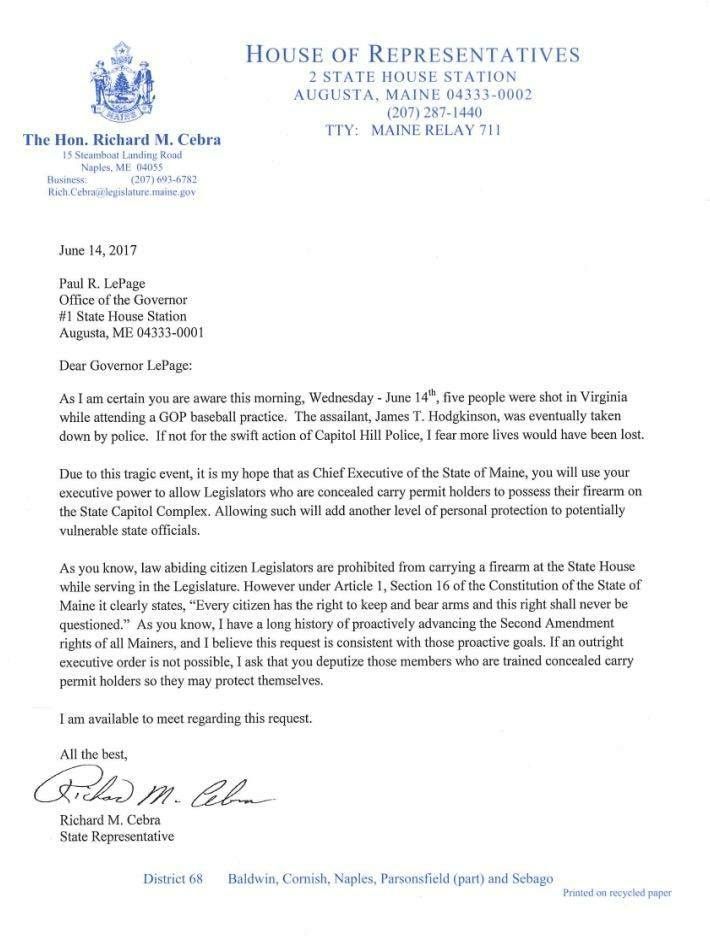 Some legislators want to carry firearms to keep themselves safe in letter written to gov paul lepage by rep richard cebra thecheapjerseys Choice Image