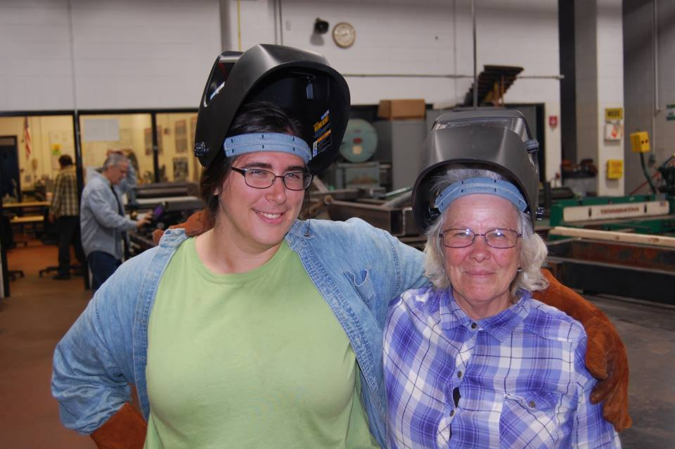 Lewiston High School teachers Rebecca Spilecki and Terry Waite pause for a  picture during Welding I at Lewiston Adult Education in 2017.