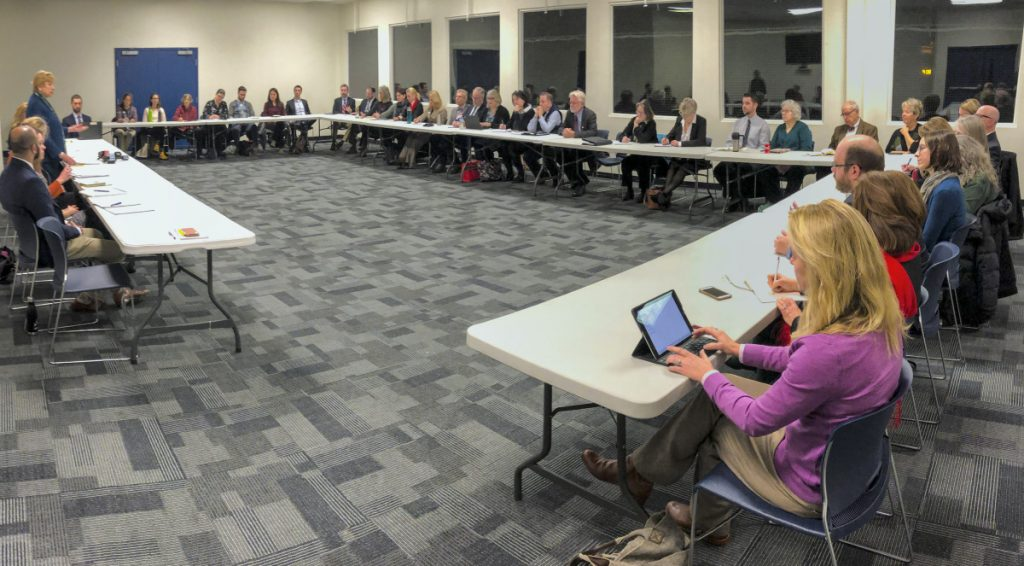 HALLOWELL, ME - JANUARY 10: Gov. Janet Mills speaks during a Medicaid Expansion Stakeholder Roundtable on Thursday January 10, 2019 at the Ice Vault in Hallowell. (Staff photo by Joe Phelan/Staff Photographer)