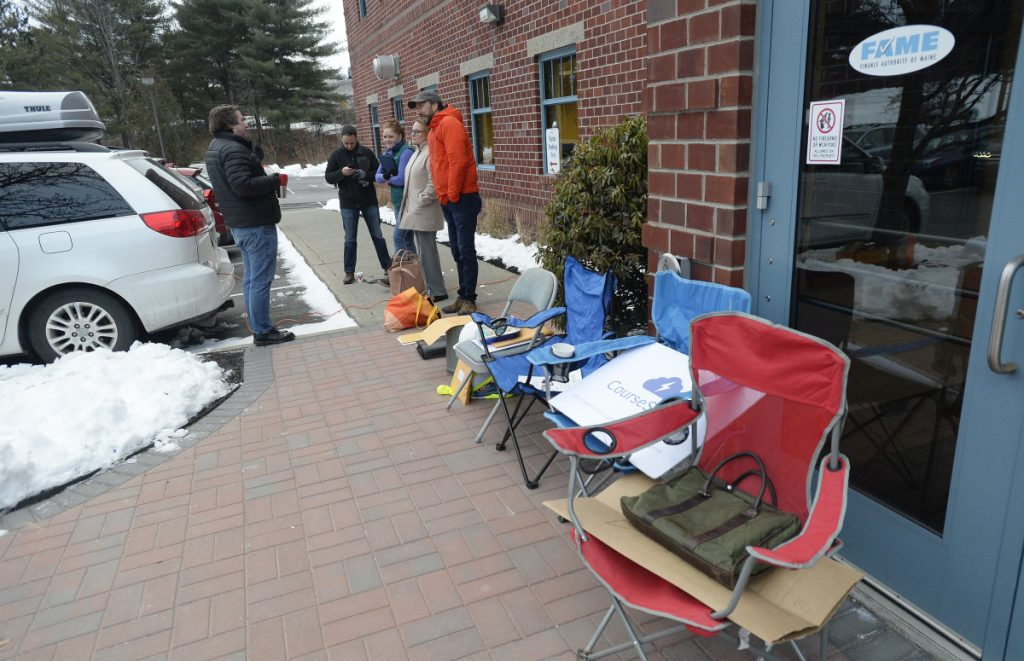 Investors lined up outside FAME's office to apply for the Maine Seed Capital Tax Credit program, Wednesday, January 2, 2019.