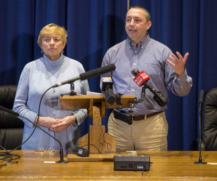 Gun rights advocates are critical of Gov. Janet Mills' choice for public safety commissioner, former Portland Police Chief Michael Sauschuck, right, whose nomination she announced last month. Sauschuck is a former board member of the Maine Gun Safety Coalition and has advocated for universal background checks.