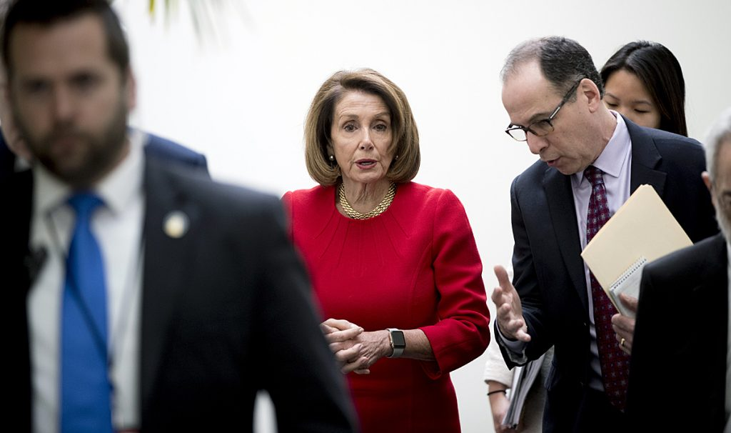 House Speaker Nancy Pelosi of Calif. leaves a House Democratic Caucus meeting on Capitol Hill in Washington, Wednesday, Jan. 23, 2019. (AP Photo/Andrew Harnik)