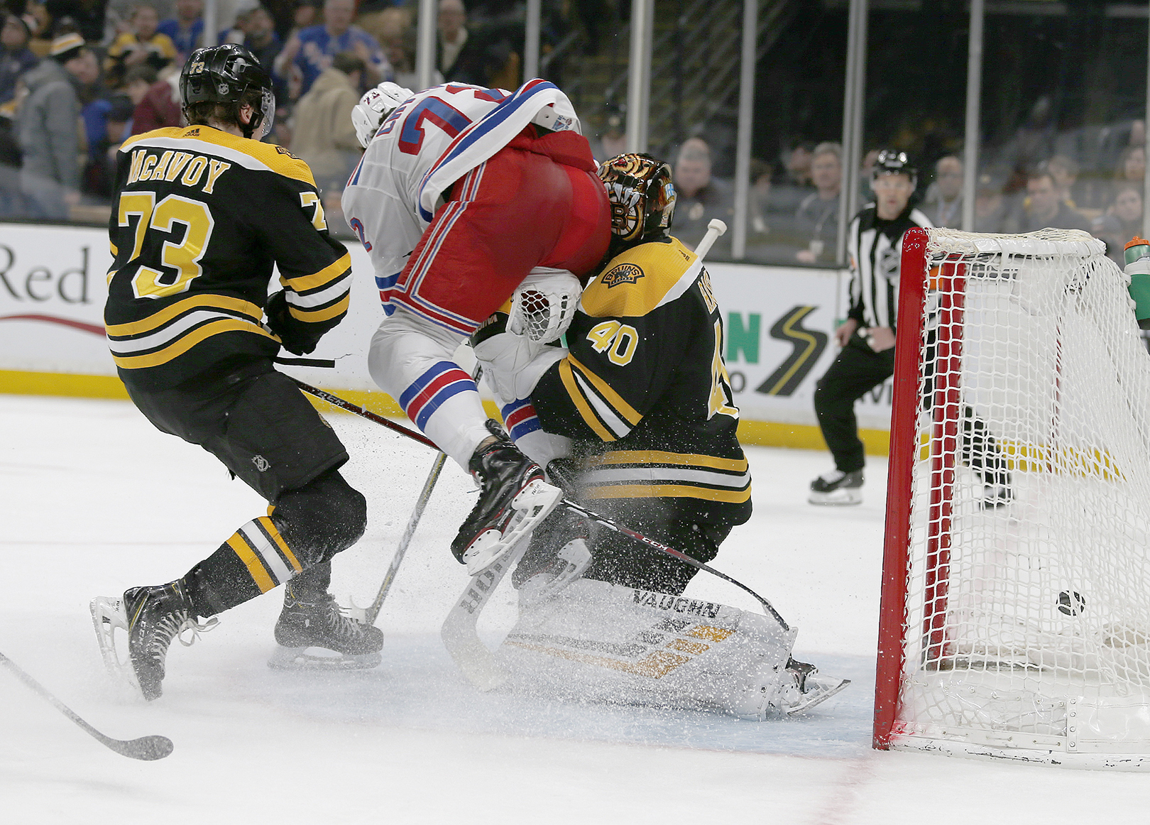 ce4ecbd2e New York Rangers center Filip Chytil (72) collides with Boston Bruins  goaltender Tuukka Rask (40) as he scores a goal