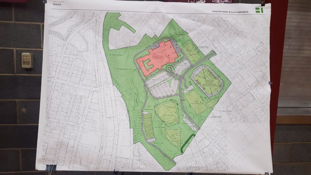 The layout of the proposed Edward Little High School campus is shown in this drawing officials have posted for public input in the school.