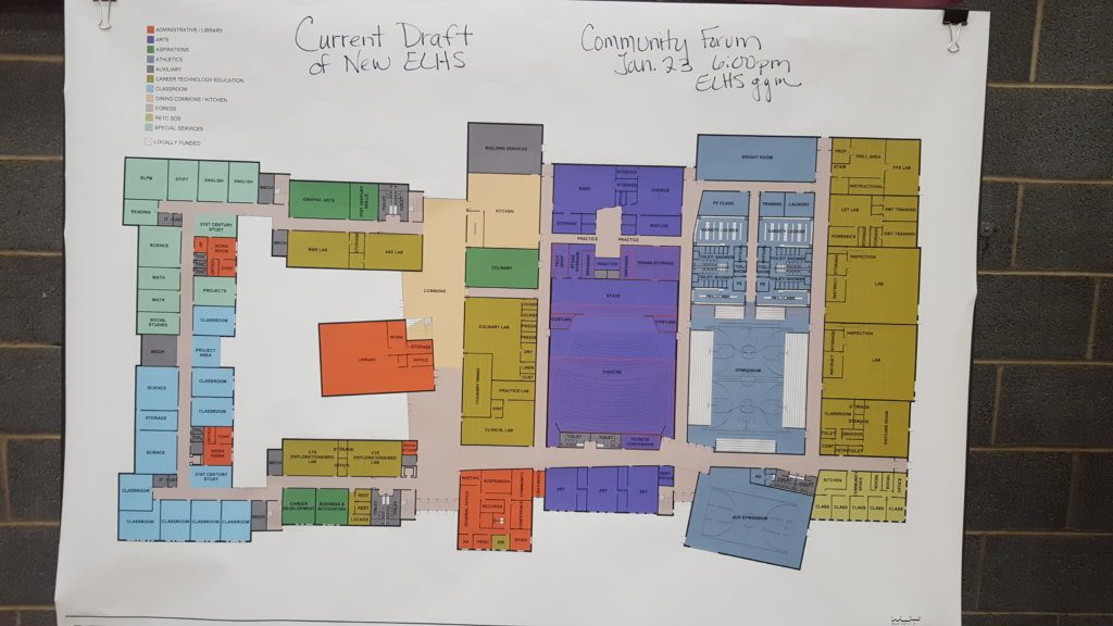 This drawing on display at Edward Little High School shows the location of various classrooms and facilities being proposed for the new school.