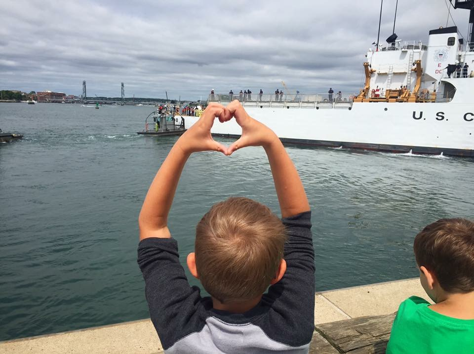 Lindsay Scott's son demonstrates some Coast Guard love.