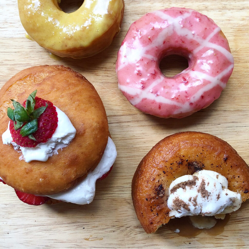 A selection of vegan donuts from Lovebirds, a new donut shop that will open in Kittery in April.