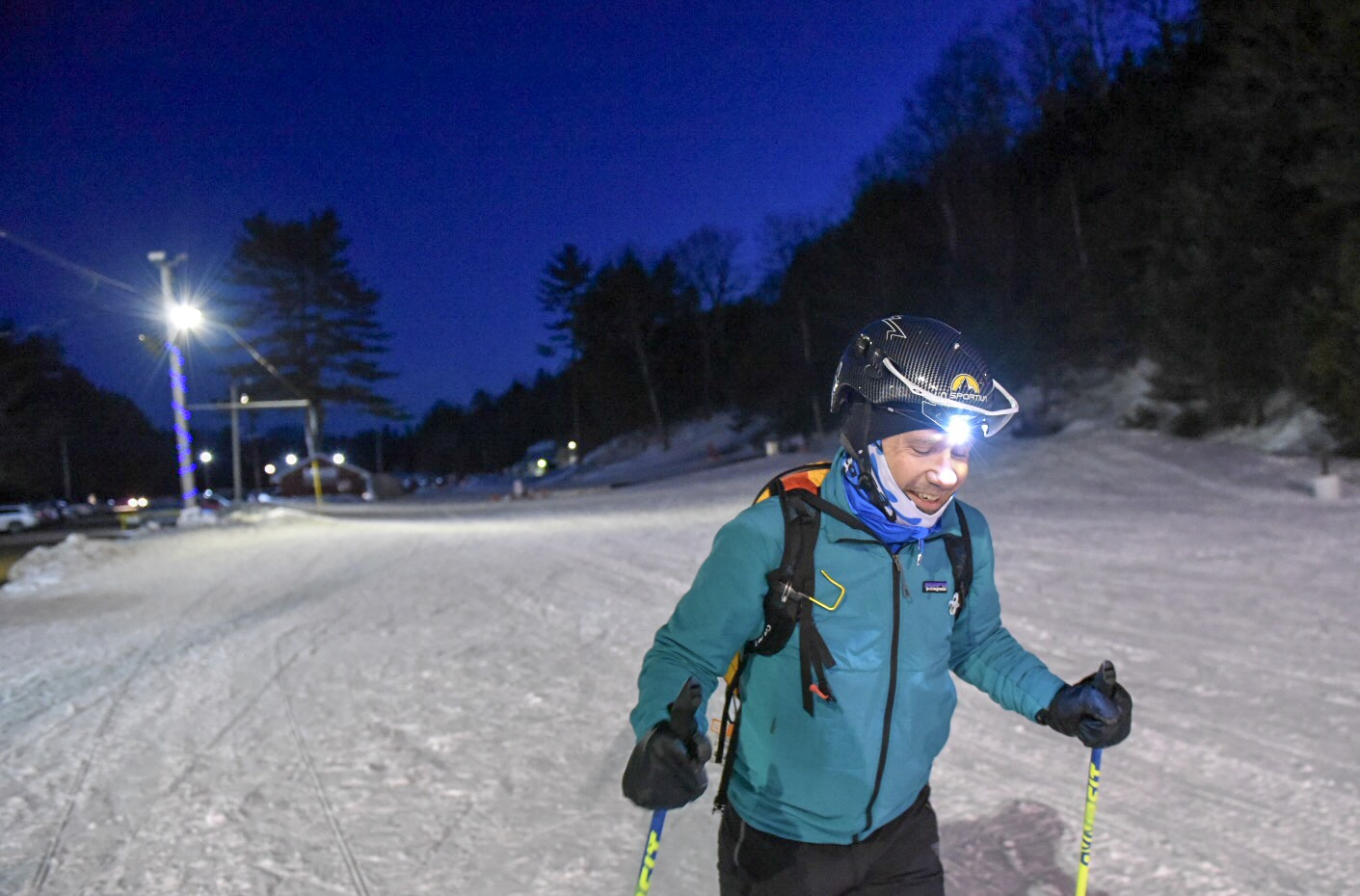 Skiing uphill at Lost Valley