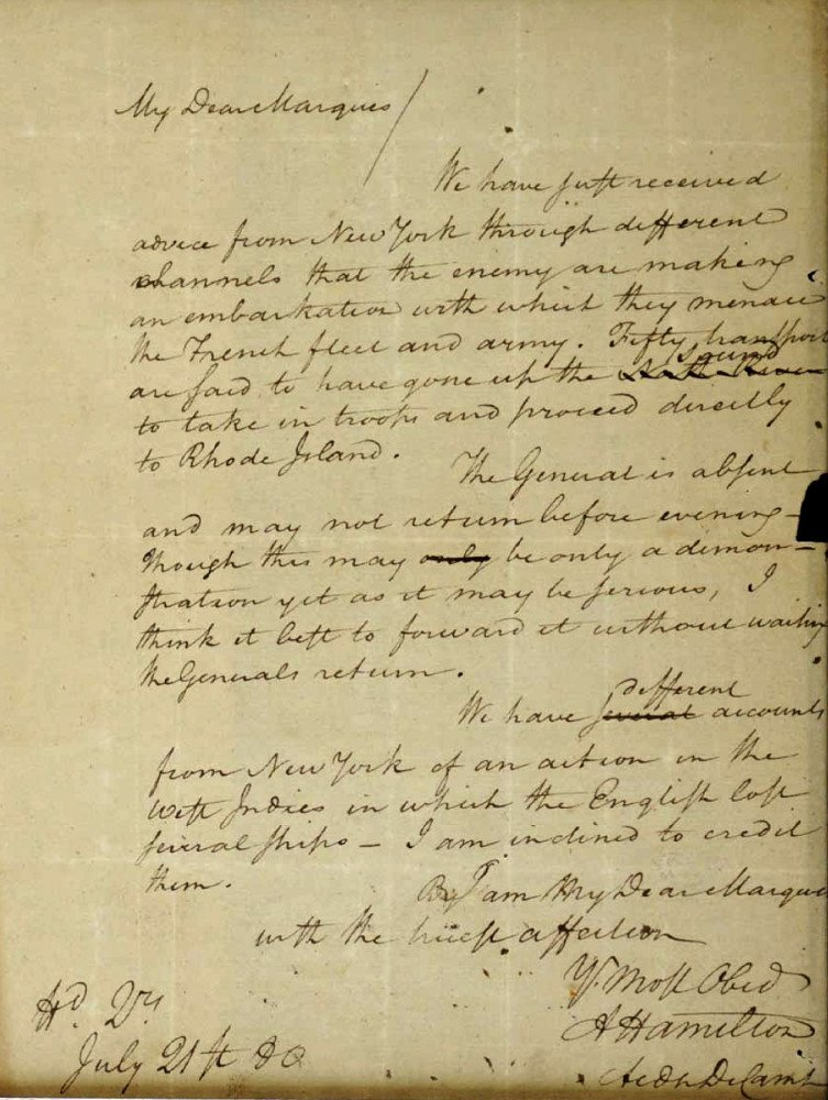 This image filed May 15, 2019, in federal court as part of a forfeiture complaint by the U.S. attorney's office in Boston shows a 1780 letter from Alexander Hamilton to the Marquis de Lafayette, that was stolen from the Massachusetts Archives decades ago. (U.S. Attorney's Office via AP)