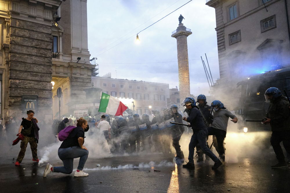 Demonstrators and police clash during a protest Saturday in Rome. Italy fears that there could be a replay of last week's mobs trying to force their way toward Parliament.