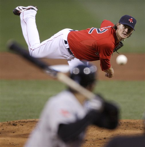 Boston Red Sox starter Clay Buchholz delivers a pitch during the Red Sox' 7-6 loss to the Toronto Blue Jays Friday night at Fenway Park in Boston.