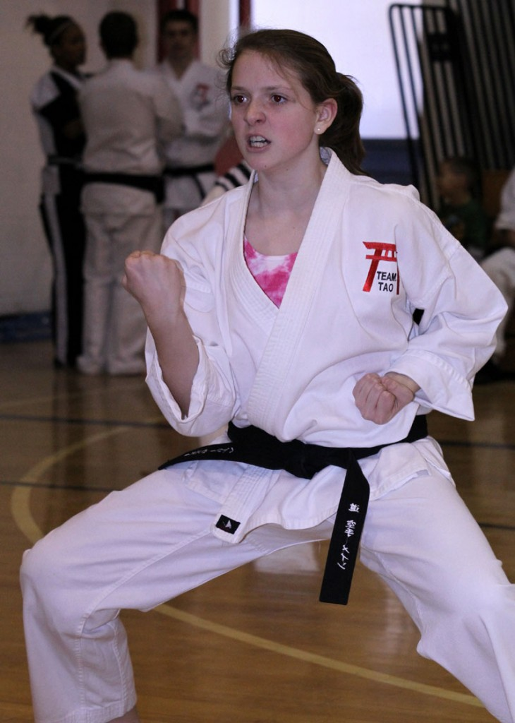 READY FOR CHALLENGE: Haley West, a student at Tao Karate Club of Winthrop, competes during the 2010 Maine Martial Arts Competition. The competition will be held Saturday in Winthrop.