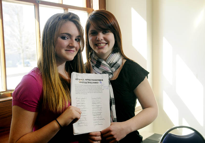 Courtnee Roberts, left, and Lexi Ross have circulated anti-bullying petition. The Hall-Dale freshman were friends with Hayley Blowers, 16, who committed suicide.