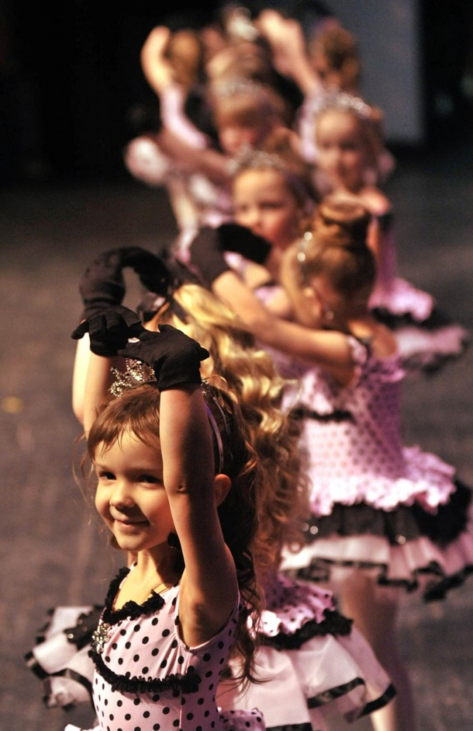 Briauna Rousseau, 4, performs with her ballet group during a rehearsal Thursday in preparation for the Saturday show at the Messalonskee Performing Arts Center.