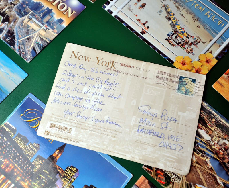 """Sonny's Pizza on Main Street in Fairfield has been receiving """"Post Card Jack"""" type correspondence from an unknown patron."""