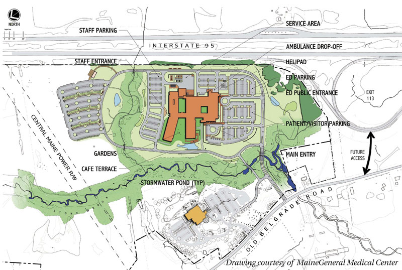 A conceptual drawing of the regional hospital proposed by MaineGeneral Medical Center in north Augusta. The drawing also shows the existing Harold Alfond Center for Cancer Care, at bottom, as well as the Exit 113 area on Interstate 95, top right.
