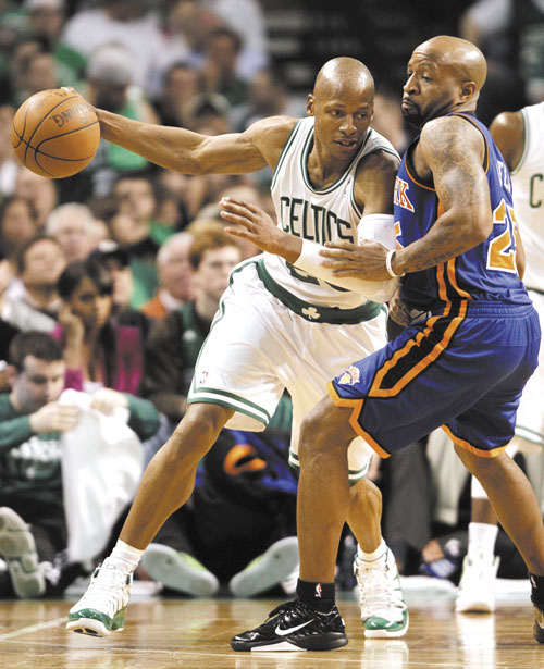QUESTION MARK: Celtics guard Ray Allen works on New York Knicks guard Toney Douglas during Boston's 87-85 victory in Game 1 on Sunday in Boston. Douglas would start Game 2 tonight if, as expected, Chauncey Billups sits with a left leg injury.