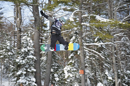 FLYING HIGH: Despite a broken wrist, Jake Warn, 11 of Winslow, recently competed in the USA Snowboard Association national championships in Copper Mountain, Colorado.