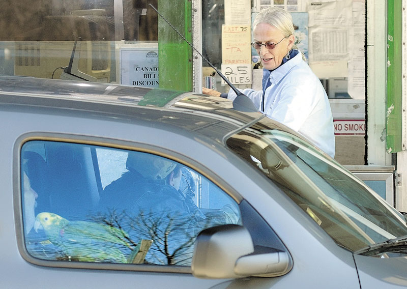 Toll collector Sheila Baucom collects money from a southbound driver, who has a bird in the car, at the mile 102 plaza on the Maine Turnpike recently in West Gardiner.
