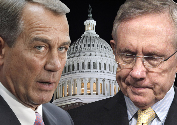 """The rhetoric heats up as Congress continues to work to avert a government shutdown at midnight tonight. Senate Majority Leader Harry Reid, right, says Republicans """"are willing to throw women under the bus, even if it means they'll shut down the government."""" But House Speaker John Boehner says there's """"only one reason that we do not have an agreement as yet, and that issue is spending."""" """"Most of the policy issues have been dealt with and the big fight is about spending,"""" Boehner said Friday afternoon."""