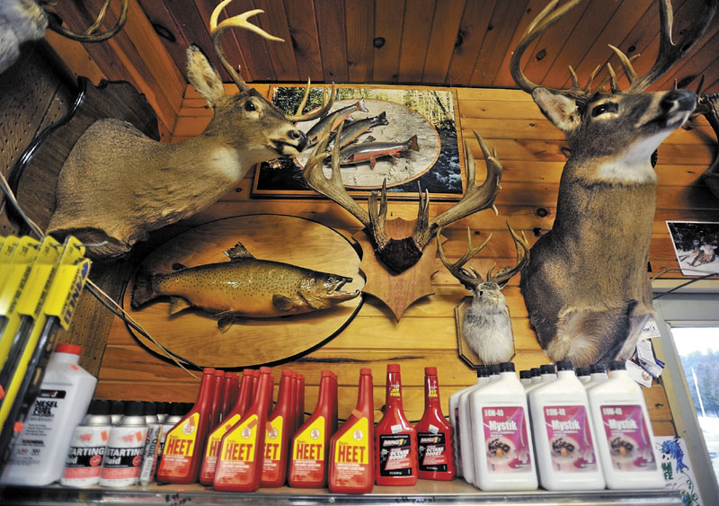 Mounted deer heads decorate the Berry General Store in West Forks Tuesday evening.