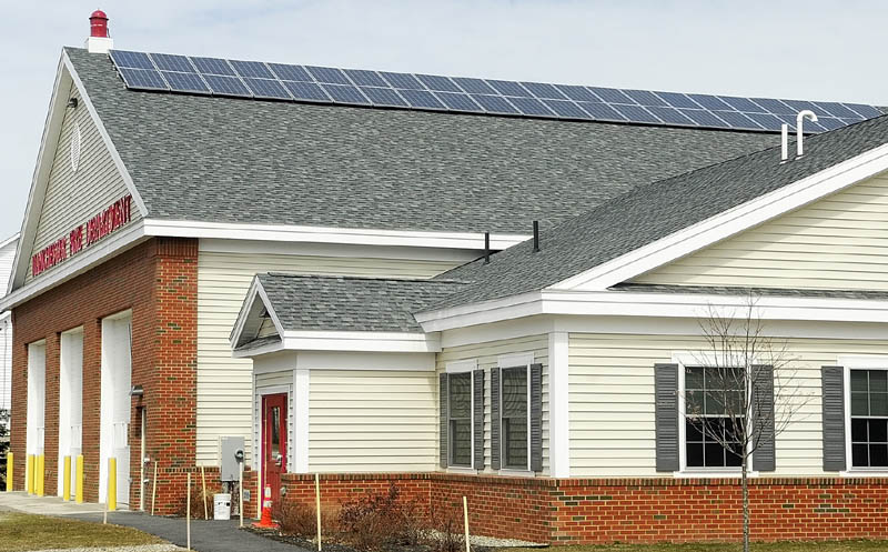 The new Manchester Fire Department building has solar panels on the south facing side of the roof.