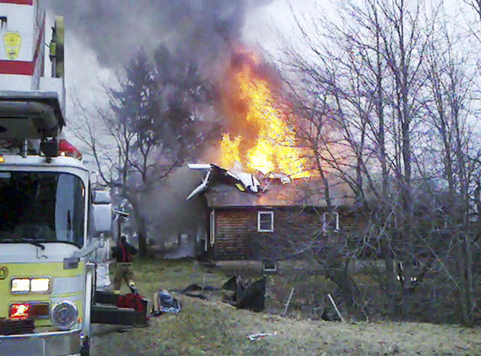 This image of the crash Sunday evening is taken from a cellphone video provided by Sheila Gagne Conley.