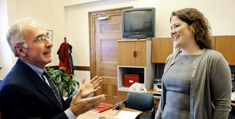 Department of Environmental Protection head Darryl Brown, left, speaks with House Minority Leader Emily Cain, D-Orono, in this file photo.