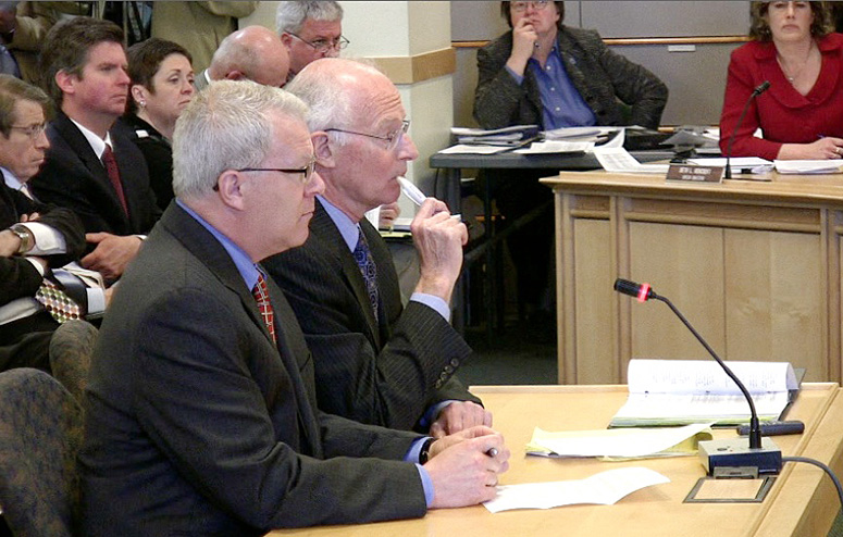 Paul Violette, former executive director of the Maine Turnpike Authority, testifies at the State House today.