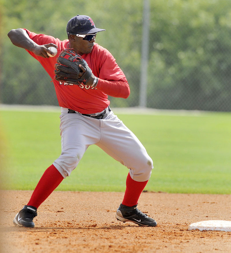 CLOSER TO SEASON OPENER: Portland Sea Dog second baseman Oscar Tejeda sets to throw to first after forcing a baserunner at second base during a spring training game Tuesday afternoon in Fort Myers, Fla. The Sea Dogs open the season Thursday.