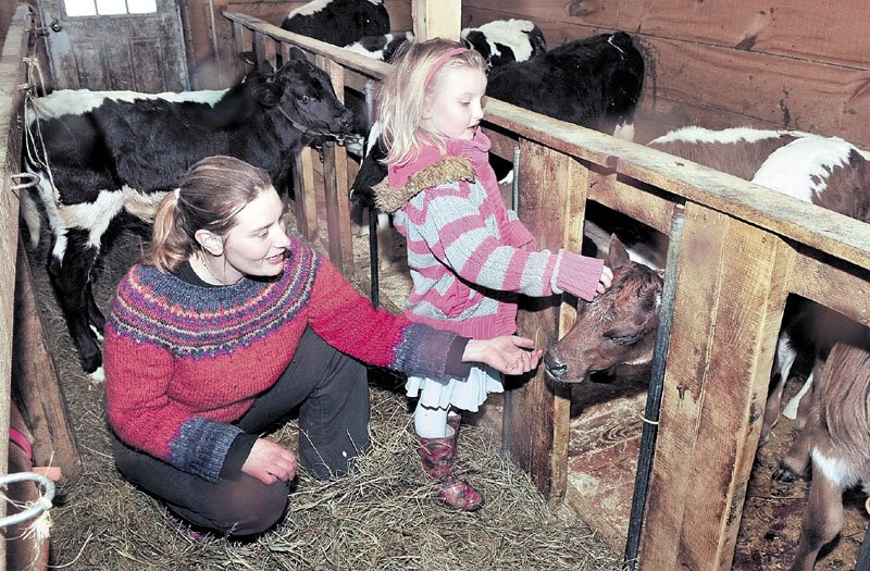 Organic farmer Sarah Smith and her daughter Cedar look in on calves at their Grassland Farm in Skowhegan on Monday. Smith will travel to Washington, D.C., this week to discuss the growing organic farming trade with members of Congress.