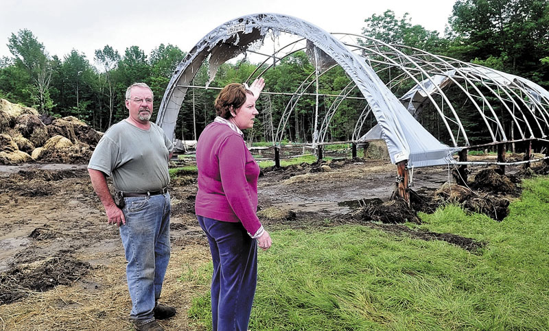 FIRE: Rupert and Sue Pratt talk about the fire that destroyed the tarp roof of their hay barn and charred hay bales, at left, at their farm in Strong on Sunday.