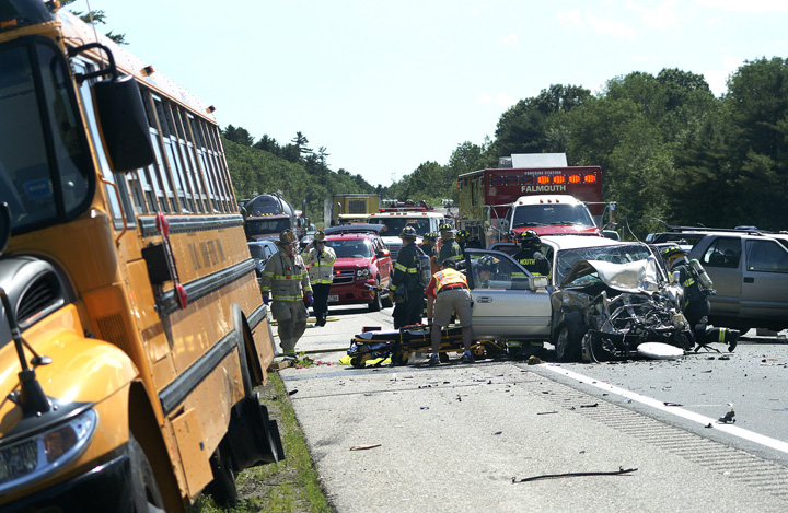 Scene of the accident involving a school bus on I-295 northbound near the Falmouth-Cumberland town line today.