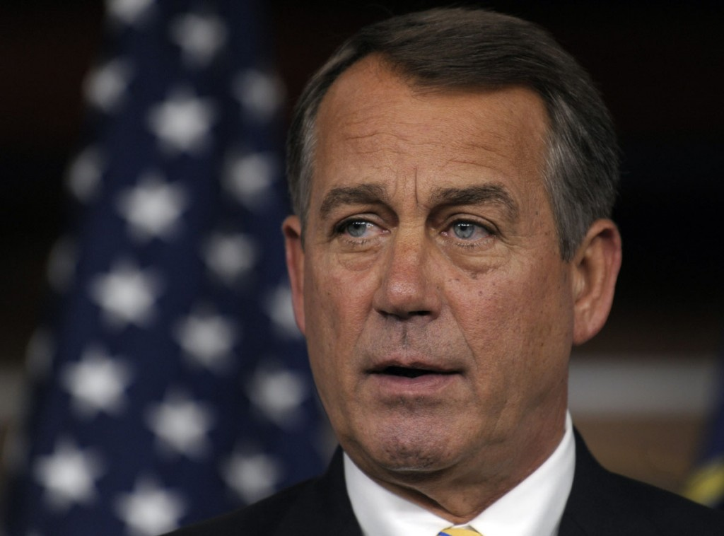 House Speaker John Boehner of Ohio speaks at a news conference on Capitol Hill in Washington on Thursday about negotiations to raise the debt ceiling.