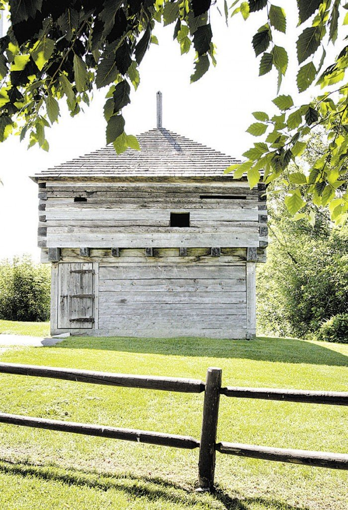 HISTORY: The original blockhouse at Fort Halifax in Winslow, built in 1754, was the oldest wooden structure of its type until 1987 when it was swept away in a flood. Timbers salvaged after the flood were used in the rebuilding of the blockhouse, shown here in 2008.