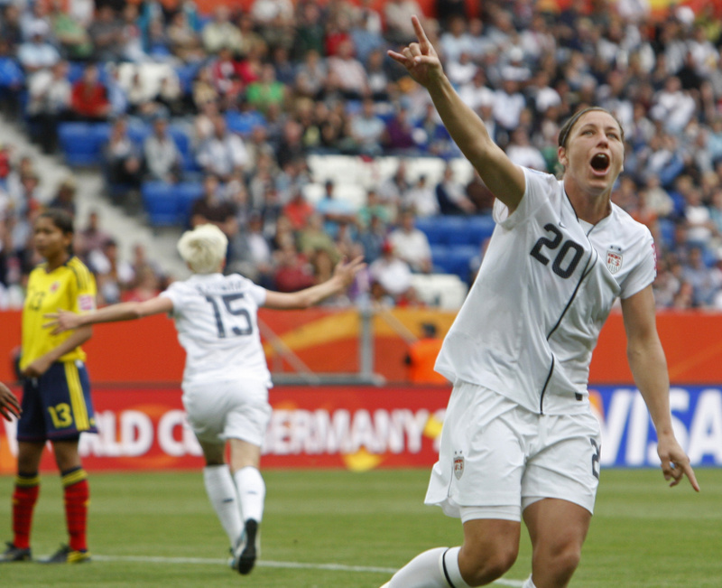 United States' Abby Wambach celebrates after Megan Rapinoe's goal today against Colombia in women's World Cup action at Sinsheim, Germany. The U.S. won 3-0 to improve to 2-0 in the tourney.