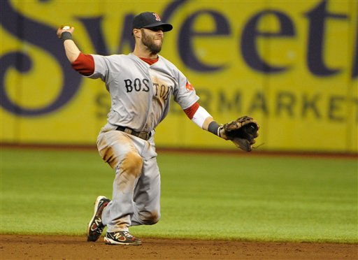 Boston Red Sox second baseman Dustin Pedroia makes the throw to first base to get the out on Tampa Bay Rays' Reid Brignac during the sixth inning Sunday in St. Petersburg, Fla. Ten innings later, Pedroia hit an RBi single to lift Boston to a 1-0 win over the Rays.
