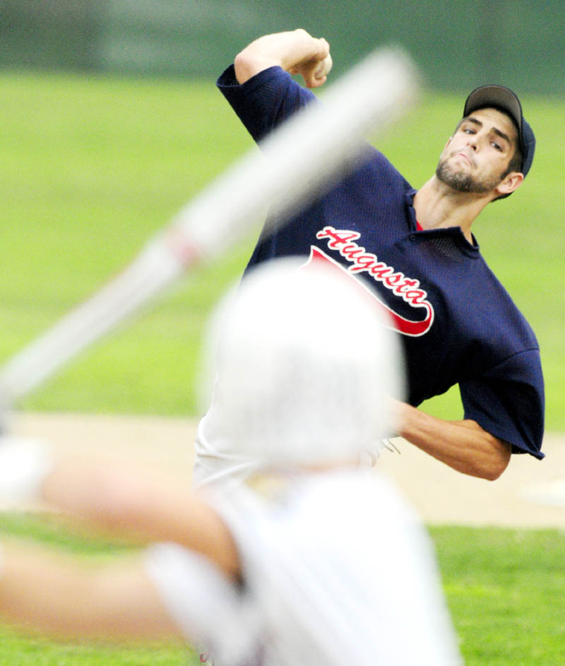AND THE PITCH: Augusta pitcher David Clough delivers a pitch during an American Legion Baseball state tournament game Friday in Augusta.